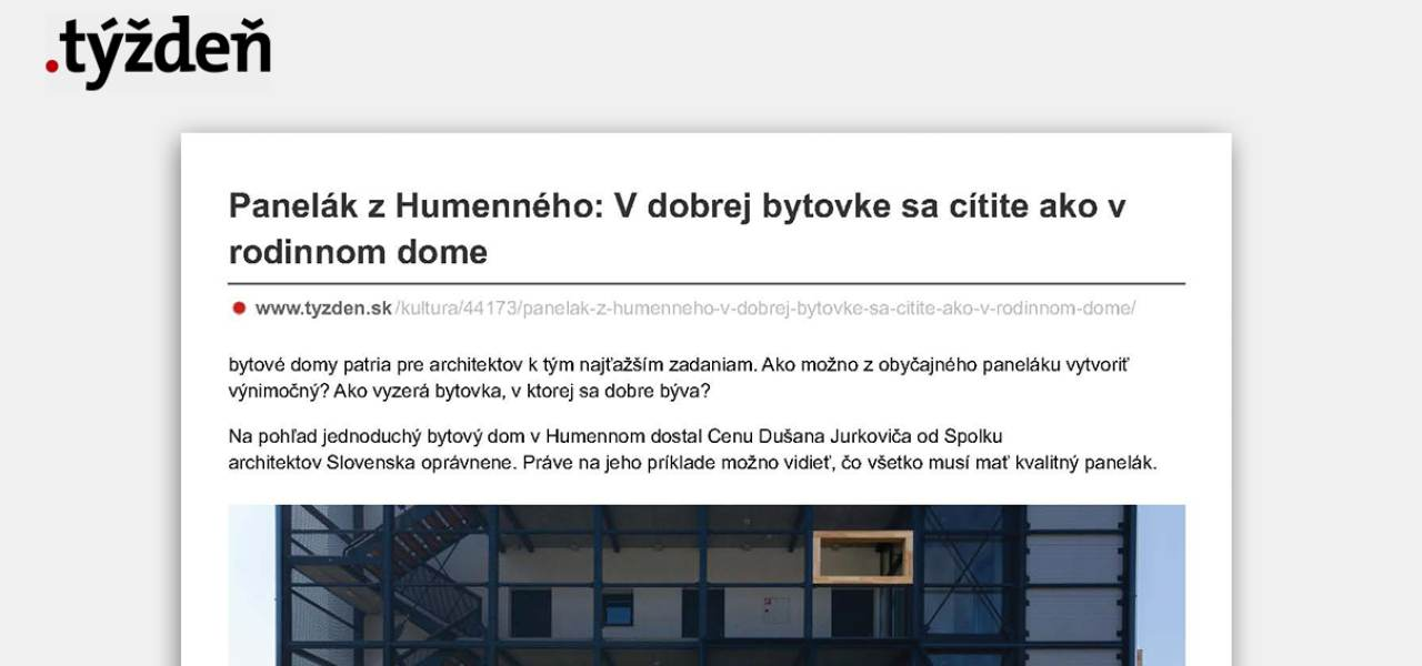 Apartment building from Humenné: In a good flat you feel like in family house | Interviews | Atrium Architekti