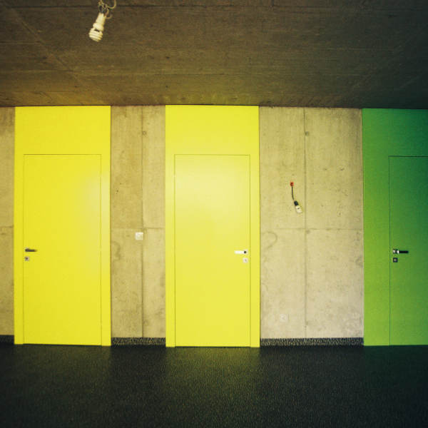 Basement space with original coloured doors